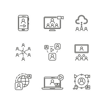 Video conference and online communication vector line icons. Conference online, communication business conference sign,  online videochat communicating illustration