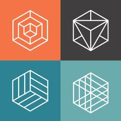 Wall Mural - Hexagon vector logos in outline linear style. Logo hexagon, abstract hexagon,  geometric logo hexagon illustration