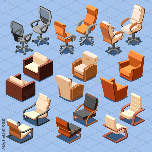 Quot Chair And Armchair Isometric Vector Set Chair Interior
