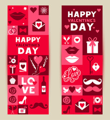 Vector set banners of Valentines Day.