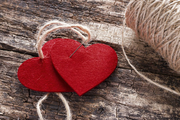 two hearts linked together background Valentine day