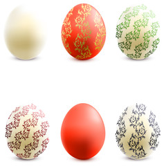 3D Vector easter eggs set with shadows. N 4