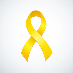 World AIDS symbol. Yellow ribbon on white background