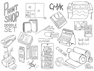 Print shop doodle set with different elements for copy center and print shop.