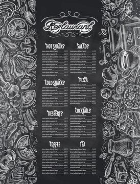 vector hand drawn menu restaurant sketch and food, drinks doodle