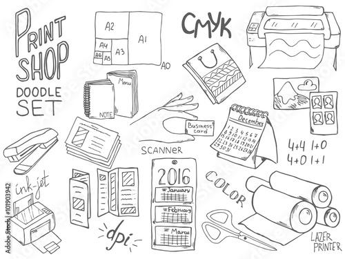 Print shop doodle set with different elements for copy