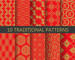 red and gold chinese patterns, vector