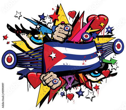"""Cuba Flag Havana Graffiti Banner Graff Emblem Street Art"