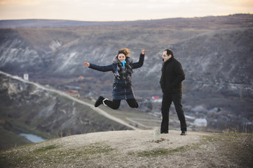 Man with Jumping Woman