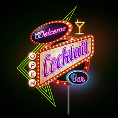neon sign.Cocktail bar