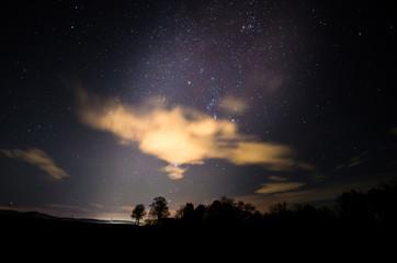 landschaft mit wolken und sterne