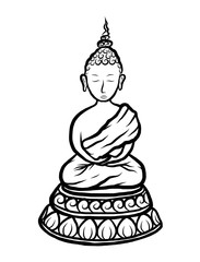 buddha / cartoon vector and illustration, black and white, hand drawn, sketch style, isolated on white background.