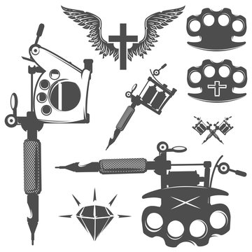 Set of tattoo elements and tattoo machines.