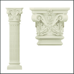 Ancient Greek Ionic column and capitel. Vector illustration.