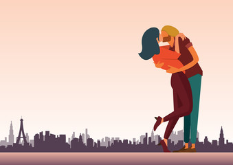 Flat design of loving couple are kissing for valentine day and wedding  decoration.  City skyline background. Vector Illustration