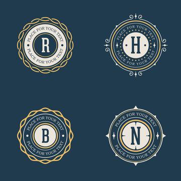 Vector vintage insignia, monogram, frame, label, logo design template set.