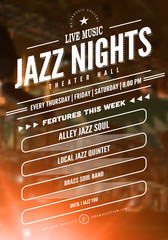 Jazz music poster template. Text instructions included in hidden layer. Vector blurred concert stage background.
