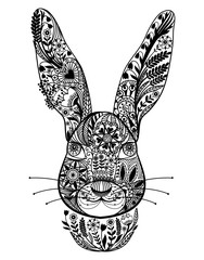Abstract ornamental rabbit. Vector black and white.