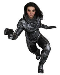 Future Soldier, Female Brunette, Running Forward - Science Fiction Illustration