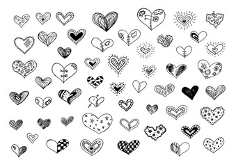 Hand drawn doodle hearts isilated on a white background