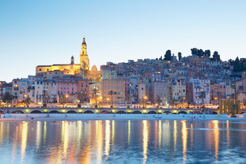Menton, old city illuminated in the evening, French riviera