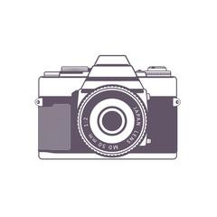 Retro camera, vintage SLR camera isolated over white, vector illustration