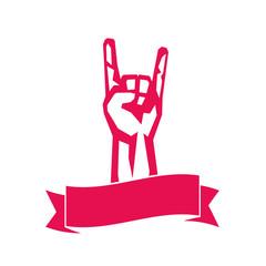 rock sign, hand-horn, rock-concert gesture over white, vector illustration