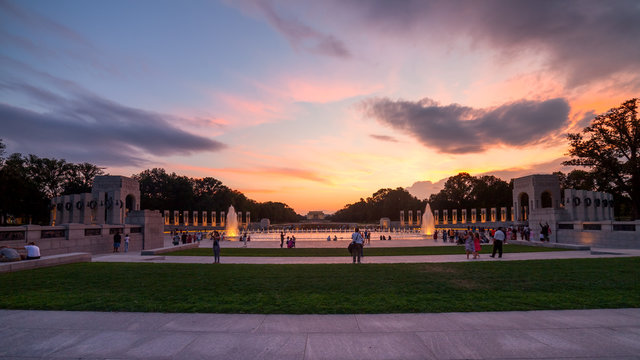 Landmark World War II Memorial fountains at the National Mall in
