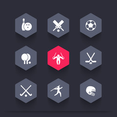 sport, games, competition hexagon icons, bowling, football, cricket, soccer, hockey icon, vector illustration