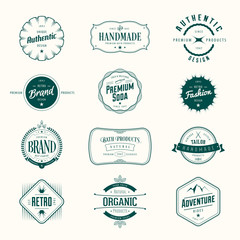 Retro vintage labels set. Vector insignias, badges, signs, t-shirt, brand design.