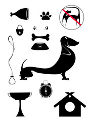 Dog breeding objects silhouette collection for design