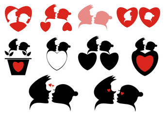 Love silhouette symbols collection. Loving couples and hearts silhouette collection for design