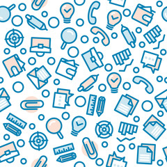 Business Fat Line Icon seamless pattern
