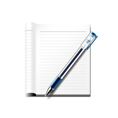 Pen and notebook isolated on white vector