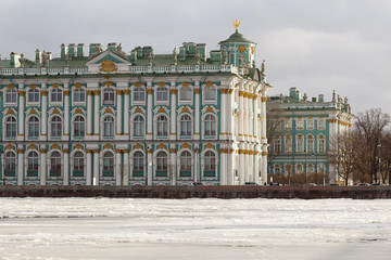 Hermitage Museum. View of the Winter Palace from the Palace Bridge in St Petersburg