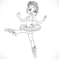 Beautiful ballerina girl in tutu outlined isolated on a white ba