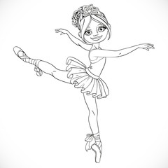 Ballerina girl dancing in ballet tutu outlined isolated on a whi