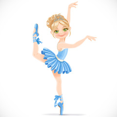 Ballerina girl in blue dress dancing on one leg