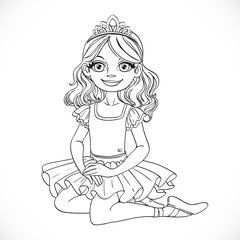 Ballerina girl in tutu and tiara sit on floor outlined isolated