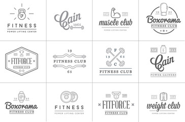 Set of Vector Fitness Aerobics Gym Elements and Fitness Icons Illustration can be used as Logo or Icon in premium quality