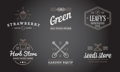 Set of Vector Garden and Farm Elements and Fruits or Vegetables Icons Illustration can be used as Logo or Icon in premium quality