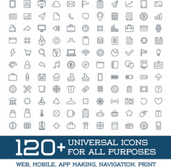 120 Universal Icons Set For All Purposes Web, Mobile, App Making, Navigation, Print
