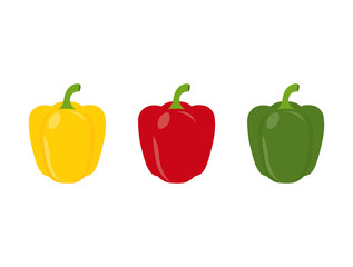 Set of three peppers. Yellow, red and green pepper. Vector illustration.
