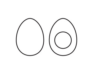 Whole egg and half of egg. Line vector illustration.