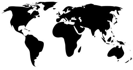 black simple world map