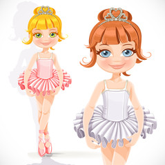 Cute little ballerina girl in tiara with hearts isolated on a wh