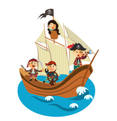 happy pirates sailing in their pirate ship