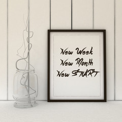 Motivation words New Week, New day, New Start . Change, Life, Success concept. Inspirational quote. 3D render