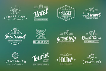 Set of Vector Travel Tourism and Holiday Elements Icons Illustration can be used as Logo or Icon in premium quality