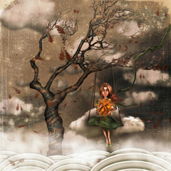 The illustration shows sad girl in sky on  swings.A sun in its hands